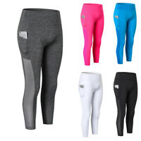 Women's Compression Pants 3/4 Yoga Dancing Gym Cropped Leggings with Pockets