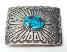 Old Pawn Navajo Handmade Sterling Silver Turquoise Belt Buckle -Wil