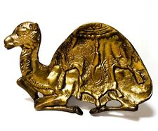 Early 20Th C Vint Mid-East Brass Camel Figure Dish, W/Raised Bas-Relief Design