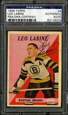 1958-59 1958 TOPPS HOCKEY~#4~LEO LABINE~PSA/DNA AUTOGRAPHED SIGNED