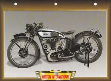 CARTE FICHE MOTO   NORTON INTERNATIONAL  1936 . .  NEUVE
