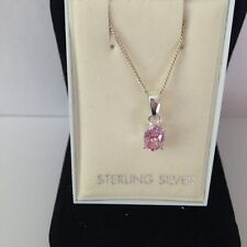 STUNNING STERLING SILVER PINK OVAL CZ PENDANT AND CHAIN