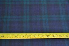 """By 1/2 Yd, 54"""" Wide, Green & Navy Tartan/Plaid Light-Weight Wool, Viyella, N71"""