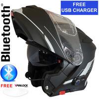 VIPER RS-V171 BLUETOOTH FLIP FRONT MOTORBIKE MOTORCYCLE HELMET MATT BLACK FOSH
