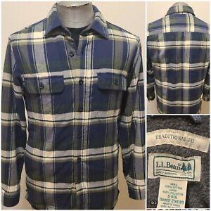 LL BEAN Flannel FLEECE LINED SHIRT JACKET Mens S Reg 298189 Traditional Fit