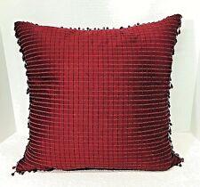 Over Sized Dark Wine Burgundy Silk Pillow Decorative w Bead Trim 18 x 18 Inch