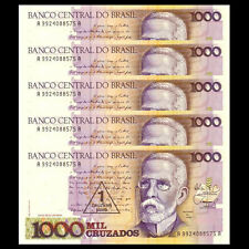 Lot 5 PCS, Brazil 1 Cruzado Novo on 1000 Cruzados, 1989, P-216b, banknote, UNC