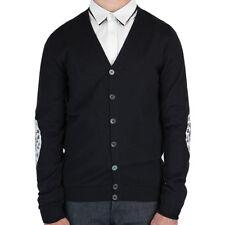 Alexander McQueen Black White Lace Print Elbow Patch Cardigan Knitwear S IT46