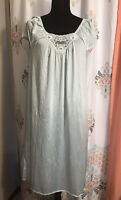 vintage lorraine nightgown Light Blue Small Lace Chest Sheer Short Sleeve
