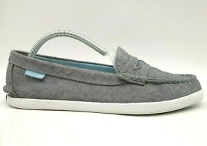 Cole Haan Logo Gray Linen Casual Slip On Penny Loafers Shoes Women's 9 B