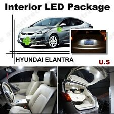 For Hyundai Elantra 2013-2016 White LED Interior kit + White License Light LED