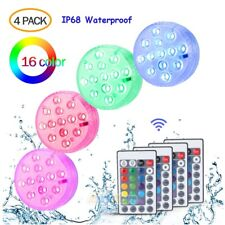 4PCS Submersible Accent LED Under Water Lights w/ Remote Control Pool Fountain