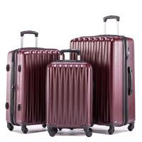 Hardside luggage set 3piece expandable suitcase case with tsa lock