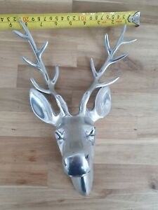 New Wall Mounted Stags Head Deer Décor Ornament Antler Modern Silver Finish
