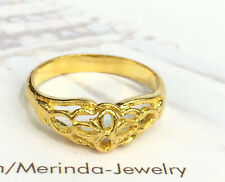 24K Solid Pure Gold Flower Band Ring 3.6 Grams. Size 6