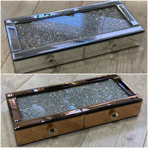 Mirrored crushed diamond Desk Table shelf drawer sparkle silver gold Crystal