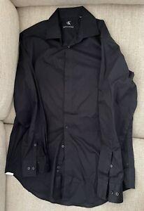 Calvin Klein Black SlimFit Non-Iron Stretch Dress Shirt M 15 1/2 32/33 LS