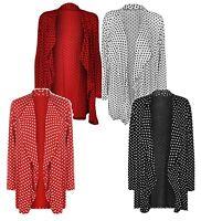 Womens Ladies Plus Size Long Sleeve Polka Dot Spot Open Cardigan Top Size 14-28
