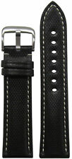 20mm RIOS1931 for Panatime Black Kevlar Style Synthetic Watch Band w White Stitc