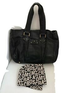 Marc by Marc Jacobs Totally Turnlock Black Leather Baby Diaper Bag Tote + Pad