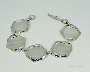 Bracelet Setting 18mm Round (or smaller) Silver Plated Hexagonal Cabochon (Cab)