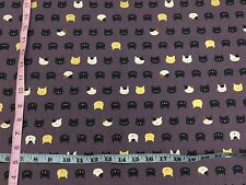 RPFNT34C Japanese Asia Mini Faces Neko Kitty Cat Kitten Gold Cotton Quilt Fabric