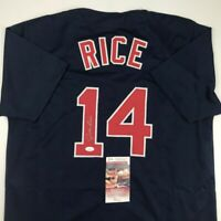 Autographed/Signed JIM RICE Boston Blue Baseball Jersey JSA COA Auto