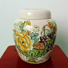 Masons Strathmore Ironstone Vintage Flowers Ginger Jar Tea Caddy Small