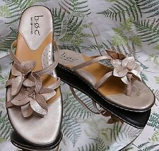BORN COPPER LEATHER FLORAL SLIDES SLIP ONS DRESS SANDALS SHOES US WOMENS SZ 8 M