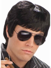 Adult Black Tough Guy 20s Gangster or 80s Scarface Wig