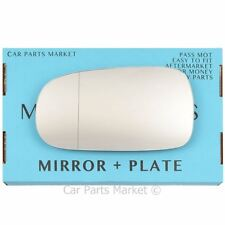 Left Passenger side Wide Angle Wing mirror glass for Cadillac BLS 2005-09 +plate