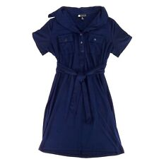 Carole Little Womens Shirt Dress Size 8 Navy Blue A-Line Belted Waist Blouse Top