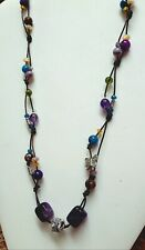 AMETHYST APATITE PERIDOT MOP PLUS PRECIOUS GEMS SUNDANCE STYLE LEATHER NECKLACE