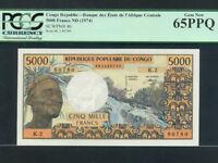 Congo:P-4b,5000 Francs,1974 * Man * PCGS Gem UNC 65 PPQ *