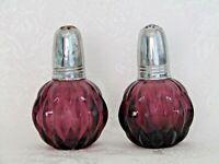 Mid Century Amethyst Glass Vintage Salt & Pepper Shakers