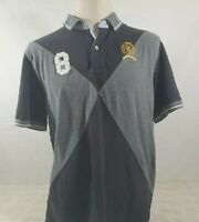 Tommy Hilfiger Custom Fit Mens Polo Shirt Size XL Black Gray Collared