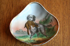 Antique mid 1800s handpainted over transferware hunting dog w/ rabbit dish