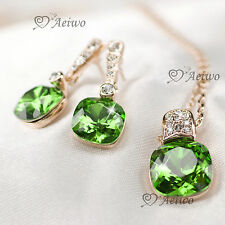 18K ROSE GOLD GF GREEN MADE WITH SWAROVSKI CRYSTAL NECKLACE STUD EARRINGS SET