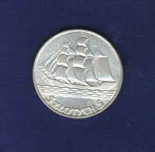 POLAND  1936  5 ZLOTYCH SILVER COIN, JUST ABOUT MINT STATE!