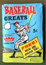 "1961 FLEER ""BASEBALL GREATS"" UNOPENED (5-CENT)WAX PACK (GUARANTEED-UNOPENED)RARE"