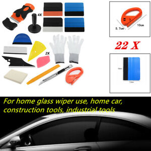 22PCS Car Window Tint Vinyl Wrap Stickers Kit Tool Squeegee Scraper Applicator