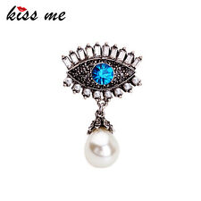 KISS ME Blue Eye Crystal Simulated Pearls Pendants Brooches ts00136