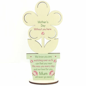 Mothers Day Memorial Gift For Mum Wooden Flower In Memory Plaque For Mum