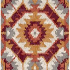 Theory Kazac Ikat Shibori Style Wallpaper Red/Orange and Slate