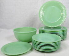 Lot 21 VTG Fire King Jadite Jane Ray Anchor Hocking Ribbed Salad Plates Saucers