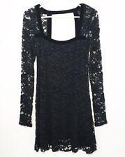 Free People Lace Dress XS Velvet Long Sleeve  Black Overlay
