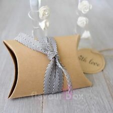 20x Kraft PIllow Boxes Baby Shower Favour Wedding Bomboniere Gift Box Chocolate