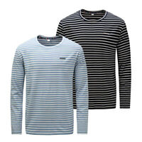 New Mens Long Sleeve Striped Cotton T Shirt Casual T-shirt Tops Plus Size