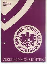 Tennis Borussia Berlin - Vereinsnachrichten - Oktober 1963