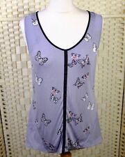 Oasis Butterfly Tunic Vest Top 10 12 Sleeveless Summer Holiday Purple Scoop Neck